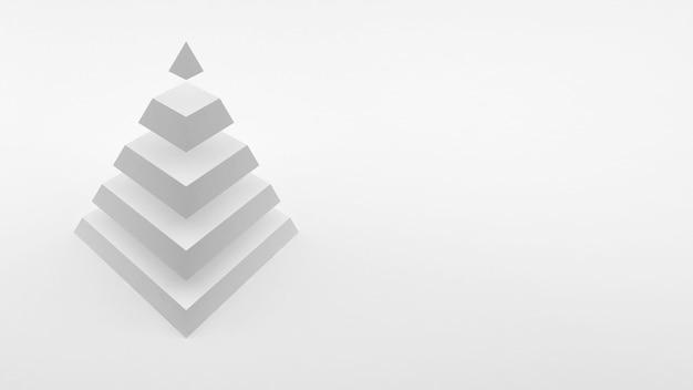 동일한 수평 부분으로 구성된 흰색 배경 흰색 피라미드에 로고. 3d 렌더링.