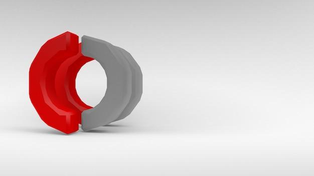 白い背景の上の2つの半分のロゴ白赤リング。 3dレンダリング。