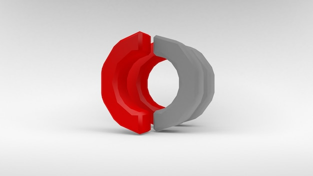 Logo white-red ring of two halves on white surface