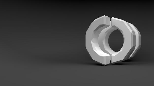 灰色の背景に2つの半分のロゴの白いリング。 3dレンダリング。