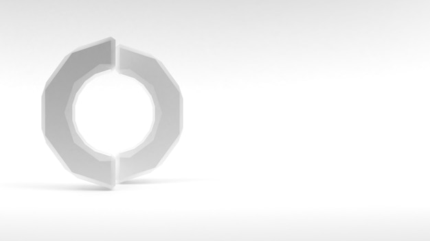 白い背景の上の2つの半分のロゴの白いリング。 3dレンダリング。