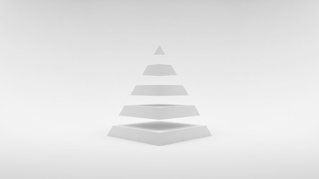 Logo on a white surface white pyramid consisting of equal horizontal parts