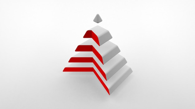 The logo on a white surface, a white pyramid with a neck of red color composed of equal horizontal parts