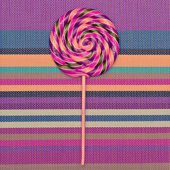 Lollipop on  bright striped background vanilla minimal style