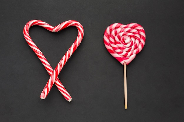 Lollipop and heart made of candy canes
