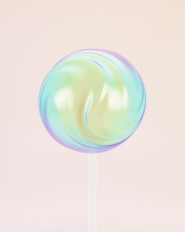 Lollipop sweet candy on stick, pastel background, 3d rendering