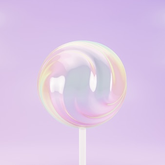 Lollipop sweet candy on stick, pastel pink background, 3d rendering