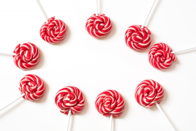 Lollipops candy on white