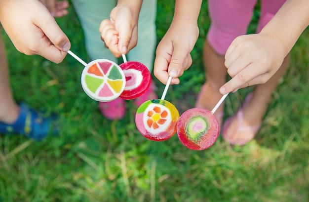 Lollipops in the hands of children