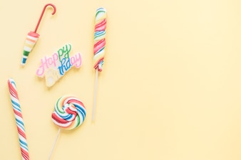 Lollipops near birthday writing