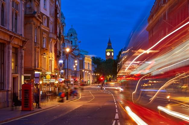 London big ben from trafalgar square traffic