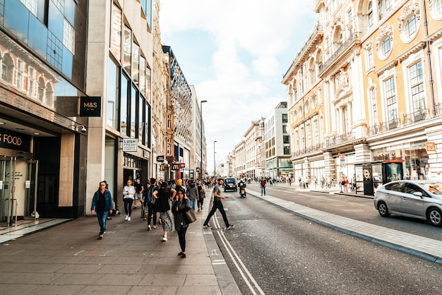 London, england -2 sep 2019 : the famous oxford circus with oxford street and regent street on a busy day in london, united kingdom