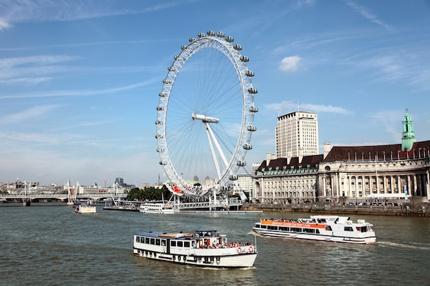 London eye with river thames