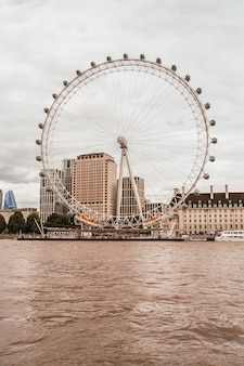 London eye with thames river in london