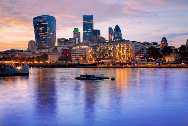 London financial district skyline sunset