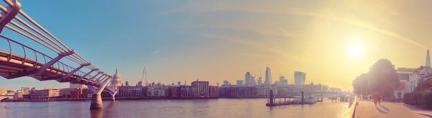 London, panorama of thames riverside and millennium bridge