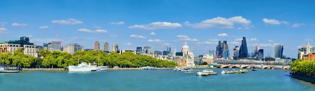 London, panoramic view over thames river with london skyline on a bright day in spring.
