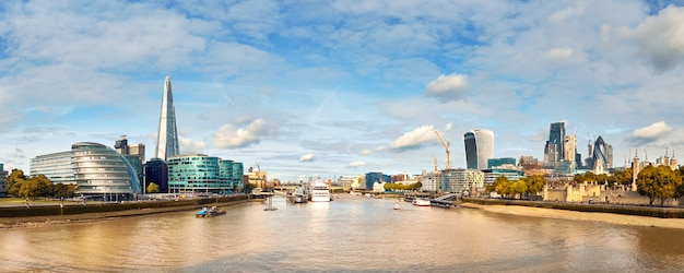 London, south bank of the thames on a bright day, panoramic image