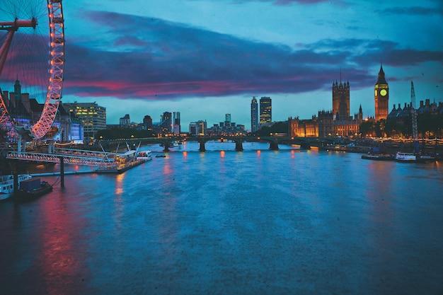 London sunset skyline bigben and thames