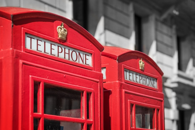 London, traditional red telephone box.