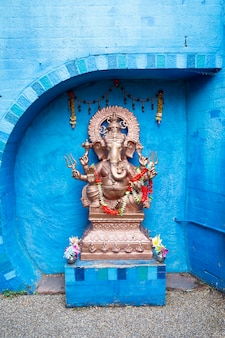 London, u.k. july 22, 2021: the indian god ganesha relief carving style.