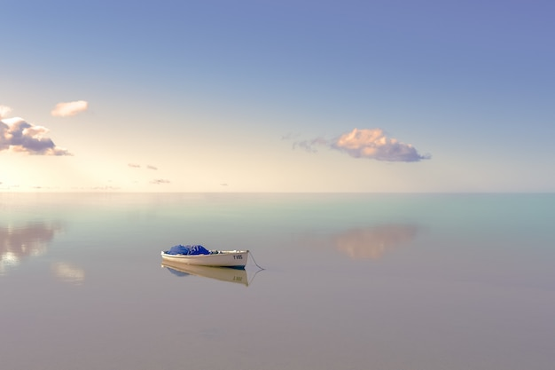Lonely boat on water