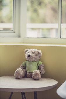 Lonely doll bears near the window