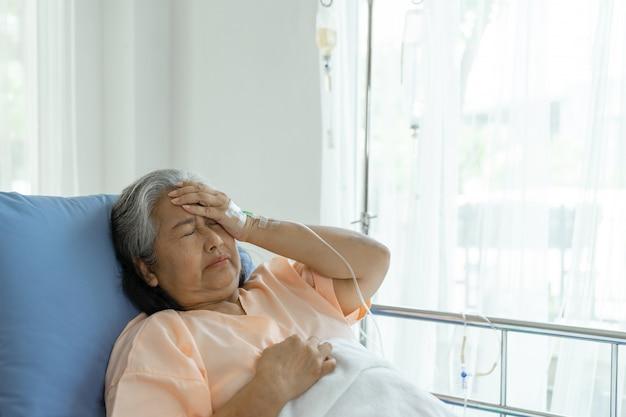 病院のベッドで孤独な高齢者の患者が帰宅したい-医療とヘルスケアの概念