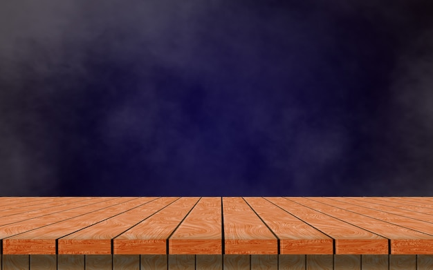 A lonely empty wooden table on a dark blue background and smoke to simulate your product.