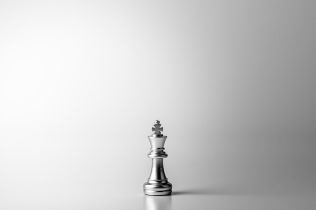 Lonely king chess standing on white background