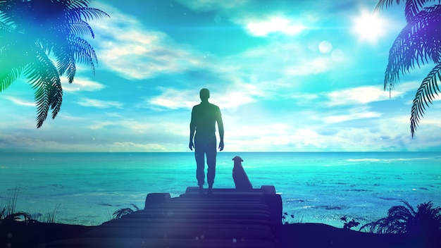 A lonely man with dog is looking at the green ocean. 3d illustration