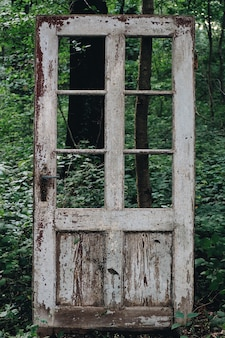 Lonely old white door with cracked paint and broken windows in the forest