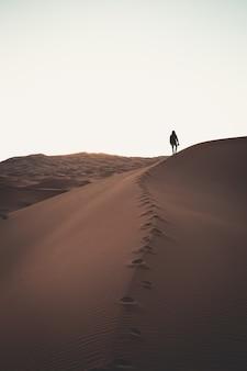 夕暮れ時の砂漠の砂丘の上に立っている孤独な人