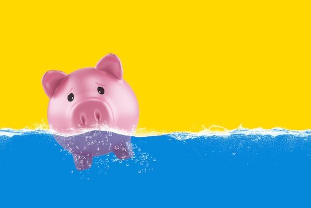危機のために孤独な貯金箱が悪海を航行する