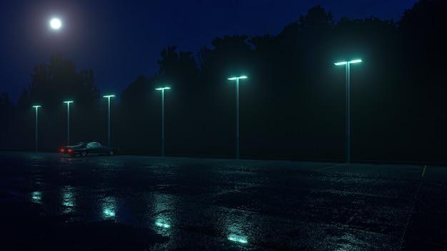 빗 속에서 빈 주차장에 외로운 복고풍 자동차