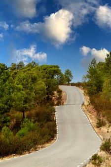 背景の素晴らしい空と孤独な道