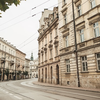 Lonely street and buildings in historical place of budapest, hungary.