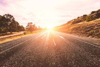 Lonely sunny road