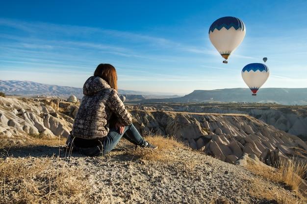Lonely traveler looking into the cappadocia