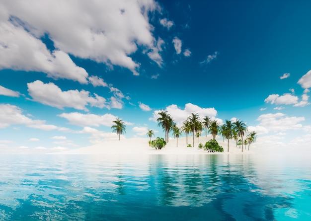 외로운 열대 섬. 3d 일러스트,