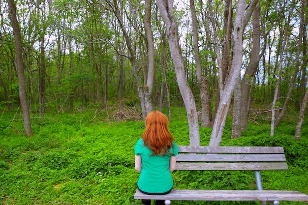 Вид сзади одинокой женщины, глядя в лес, сидя на скамейке
