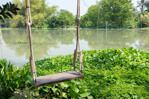 The lonely wooden swing near the small river with the sunlight in the summer, located in the local restaurant at the relaxing area for the family, front view with the copy space.