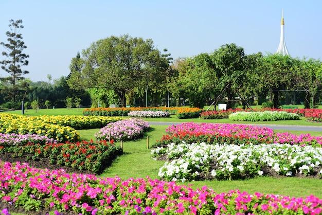 Садовник поливает цветы в парке long 9 park.