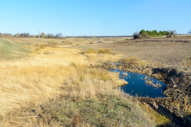 В солнечный день по ущельям и холмам текут долгожданные весенние ручьи. водные пороги и водопады ручьев среди сухой травы. красивый весенний пейзаж.