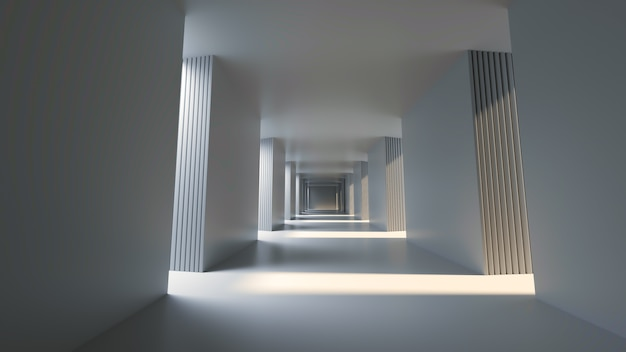 Long bright corridor with bright side sunshine 3d rendering