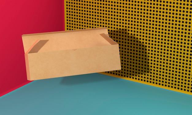긴 갈색 복사 공간 골 판지 상자