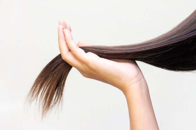 Long brown hair on palm, hair care