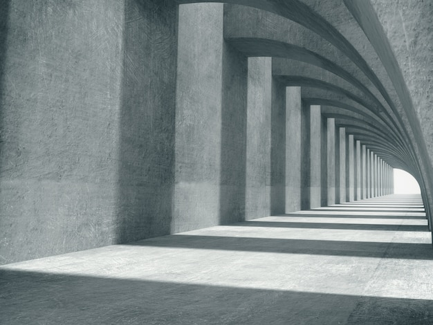 Long concrete corridor space.