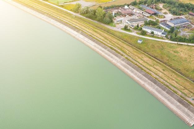 Long concrete dam on a river in poland