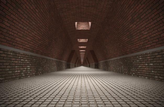 Длинный коридор визуализация интерьера 3d иллюстрации cg render